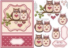 BE MY SWEETHOOT Topper Decoupage Insert available on Craftsuprint designed by Janet Briggs - Valentine's Day card front with 3d step by step decoupage. Features 2 contemporary romantic owls.NOTE A coordinating insert is available. cup374365_68Would also be suitable for a romantic birthday, husband, wife, boyfriend, girlfriend, a wedding anniversary, or even a contemporary Wedding Day card.Sentiment tag readsBe My Sweethoot! - Now available for download!