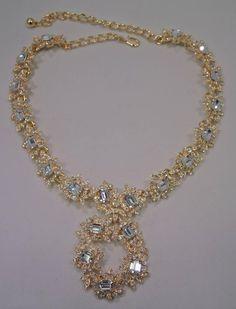 Kenneth Jay Lane Floral Golden Crystal Necklace