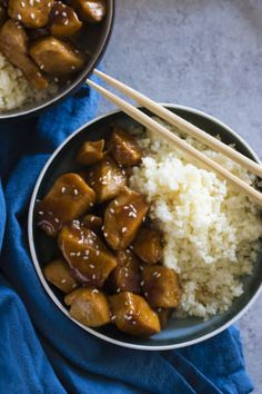 This honey garlic chicken is a one skillet kind of meal! Just five ingredients in the sauce, and the cauliflower rice makes for a healthy side.