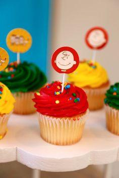 Cupcake from a Peanuts + Charlie Brown Birthday Party via Kara's Party Ideas | KarasPartyIdeas.com (29)