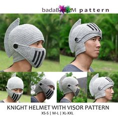 This knight helm hood design has been refined over and over, with my perfectionist of a husband as R&D consultant (a.a Guinea pigs). Free Crochet, Knit Crochet, Knitting Patterns, Crochet Patterns, Crochet Costumes, Knights Helmet, Female Knight, Single Crochet, Double Crochet