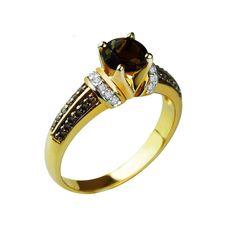 Silver Gold Plated Smoky Quartz Ring