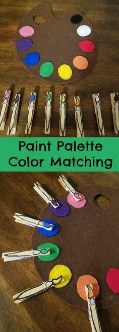 Paint Palette Color Matching #color #colour #preschool #preschoolers #prek #busybags #homeschool #homeschooling #daycare #classroom #affiliate #daycareideas