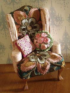 Hanna & Leijona: Syrjähyppy - Side lining. Embroidered upholstery on miniature chair. So lovely.
