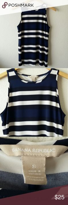 Banana Republic striped tank Banana Republic high scoop neck tank with navy blue, white and black stripes. Has small slits at the sides. Cool and flowy - perfect for the summer. 95% Polyester 5% Spandex. In excellent condition. Size small. Banana Republic Tops Tank Tops