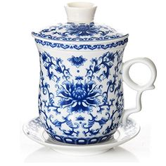 BandTie Convenient Travel Office Loose Leaf Tea Brewing SystemChinese Jingdezhen Blue and White Porcelain Tea Cup Infuser 4Piece Set with Tea Cup Lid and Saucer Blue Peony Flowers ** Want additional info? Click on the image.