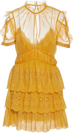 872eea1524c727 Shop for Self Portrait Embroidered Tiered Chiffon Mini Dress by Self- Portrait at ShopStyle.