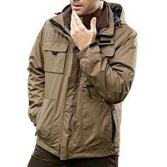 10b75a0021804 Mens Outdoor Military Waterproof Sport 2 in 1 Jacket Casual Multi Pockets  Work Coat at Banggood men fashion