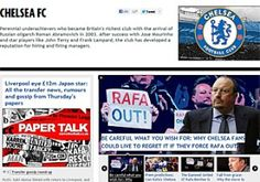 """La prensa inglesa se hace eco de la eliminación del Chelsea. """"Pobre Rafa Benítez. Incluso cuando gana, pierde"""", apunta el 'Daily Mirror'. """"Anímate Fernando, el equipo no se clasificó pero tú anotaste un doblete"""", titulaba 'The Sun'"""