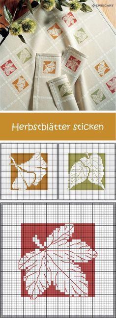 Bunte Herbstblätter sticken #Sticken #Kreuzstich #Embroidery #Crossstitch / #leafs/ #ZWEIGART