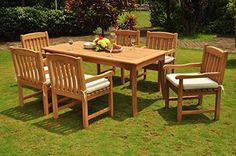 Home Makeover  Grade-A Teak Wood Dining Set 6 Seater 7 Pc 71 Rectangle Dining Table And 6 Devon Arm / Captain Chairs