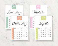 2018 Printable Calendar, US Letter Minimalist Calendar, 2018 Printable Calendar, Easy Day, Day Planners, A5, Printables, Lettering, Gift Ideas, Handmade Gifts