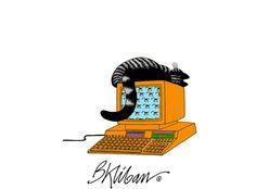 Kliban Cat on Old Skool Computer >^. Cathy Cartoon, Kliban Cat, Cats And Kittens, Tabby Cats, Cat Art, Laugh Out Loud, Your Pet, Snoopy, Kitty