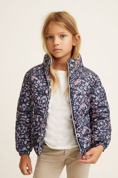 Short design Quilted fabric Floral print Funnel neck Concealed hood Long sleeve with elastic cuffs Two side pockets Zip fastening on the front section Inner polar fleece lining Mango Flower, Kid United, Kids Usa, Mango Fashion, Print Jacket, Girls Wear, Flower Prints, 6 Years, Latest Fashion Trends