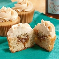Double Caramel Cupcakes - gooey caramel in a fluffy brown sugar cake, topped with salty-sweet caramel buttercream.