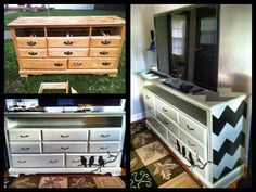 My first major project: old dresser into TV stand. Learned some valuable lessons, but it was fun!