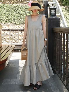 Loose Cotton Sleeveless Falbala Long Dress uoozee - Plus Size Casual Dresses - Ideas of Plus Size Casual Dresses Linen Dresses, Cotton Dresses, Casual Dresses, Fashion Dresses, Loose Dresses, Chiffon Dresses, Fall Dresses, Prom Dresses, Formal Dresses