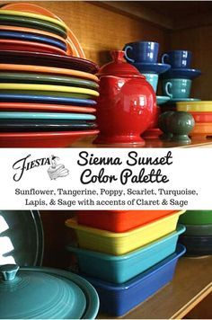 "Fiesta Dinnerware ""Sienna Sunset"" color palette, featuring NEW 2016 color, Claret, plus Sunflower, Tangerine, Poppy, Scarlet, Turquoise, Lapis, and Sage. Claret will be available beginning in June 2016 at http://www.fiestafactorydirect.com and other locat"