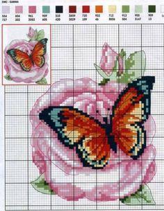 Схемы вышивки бабочки на розе