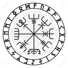 """Anyway, the main power of Vegvísir was the power of protection and guidance on the going. The most famous lines of the symbol were that """"If this sign is carried, one will never lose one's way in storms or bad weather, even when the way is not known."""" [...] Protection Symbols, Rune Symbols, Magic Symbols, Viking Symbols, Protection Tattoo, Egyptian Symbols, Ancient Symbols, Viking Rune Tattoo, Viking Tattoos"""