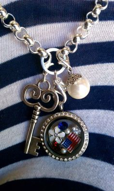 Origami Owl patriotic Living Locket and dangles. Contact Kristin Spurlock ID# 29222 spurlockets@gmail.com