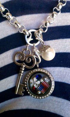 Origami Owl patriotic Living Locket and dangles. Contact Kristin Spurlock ID# 29222 spurlockets@gmail.com. necklace