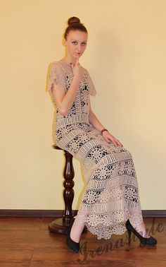 MADE TO ORDER  Crochet Dress  custom made hand made por Irenastyle, $649.00