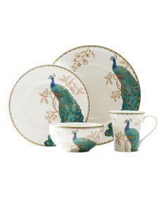 White Peacock Garden 16-Piece Dinnerware Set   I have this set!!!
