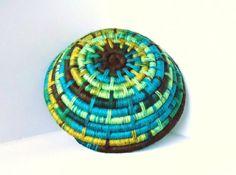 Yarn Coiled Basket, Storage Basket, Teal Brown Yellow Green