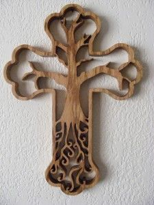 Cross tree of life. So nice! Wooden Crosses, Wall Crosses, Wood Projects, Woodworking Projects, Cross Tree, Sign Of The Cross, Cross Crafts, Scroll Saw Patterns, Cross Designs