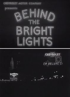 Behind the Bright Lights (1935) The Jam Handy Organization for #Chevrolet  Product placement promo about Chevy's big light-up sign in #Chicago. Includes how they did the scrolling marquee with 1930's technology.  https://youtu.be/Qz7QTI-_ASs