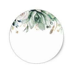 Greenery and Gold Botanical Elegant Wedding Classic Round Sticker - Etiketten - Eid Stickers, Wedding Stickers, Round Stickers, Planner Stickers, Flower Background Wallpaper, Flower Backgrounds, Vegetal Concept, Logo Fleur, Eid Crafts