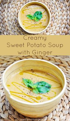This creamy sweet potato soup with ginger has a sweet and spicy taste, rich texture and lovely flavours. It was served with gluten-free crackers for some extra texture and crunchiness. | gourmandelle.com | #vegan #sweetpotatoes #soup