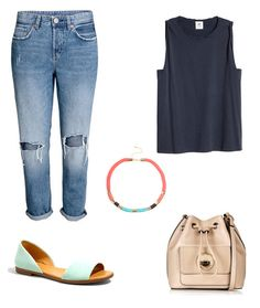 This sleeveless tee and boyfriend jeans look is tied together perfectly by a bold accessory and playful peep-toe flats.