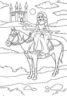 Omalovánky Princezna na koni u hradu k vytisknutí zdarma