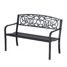 Garden Bench Outdoor Bench Patio Bench Cushions for Outdoors Metal Porch Work Entryway Steel Frame Furniture for Yard Metal Garden Benches, Patio Bench, Patio Seating, Garden Chairs, Pergola Patio, Pergola Plans, Vines, Porch Chairs, Dining Chairs