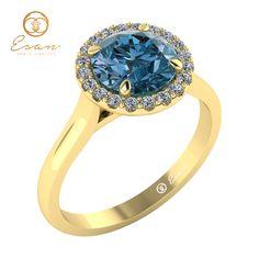 Inel de logodna cu diamant albastru si diamante ES151