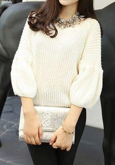 Bell Sleeves Crop Sweater - Beige - Top