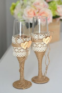 Twine and Lace Wrapped Champagne Flutes. Wedding Champagne Flutes, Wedding Glasses, Champagne Glasses, Decorated Wine Glasses, Painted Wine Glasses, Bling Wedding, Diy Wedding, Teal Rustic Wedding, Wedding Ideas