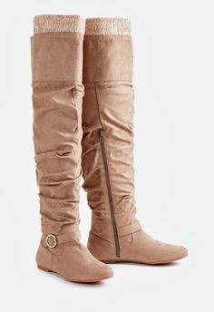 Get ready for fall with these faux suede tall boots featuring a slouchy  shaft with a