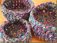 Crocheted Rag Baskets  I want to try and make these again.  They are fun to make