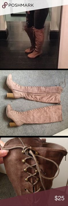 Thigh high lace up suede boots Only worn a few times, Go over the thigh, beige suede, lace up in front with side zipper, 2 1/2 inch heel paid 45 for them from wet seal would like to trade for another over the thigh pair of boots in a size 71/2 or 8 or sell for 25 Wet Seal Shoes Over the Knee Boots