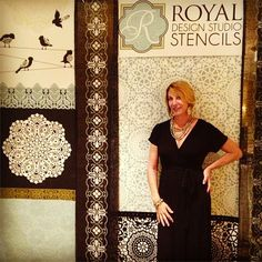 Creative Director Melanie Royals in the Royal Design Studio booth at the Haven Conference 2013. Super sneak peek at our upcoming lace stencil collection!