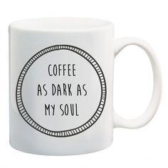 COFFEE AS DARK AS MY SOUL #mug #tea #coffee #misery #grunge #deathbeforedecaf #blackheart #illustration #shopsmall #giveaway #alternative #competition #mugs #design #win #coffeemug #christmas #stockingfiller