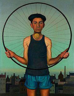 Ricco Wassmer, La roue (Das Rad), 1957. Öl auf Leinwand / huile sur toile, 55 x 38 cm. Privatbesitz, Schweiz / collection privée, Suisse