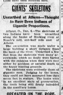 Giant Indian Skeletons Near Athens County, Ohio on the Hocking River