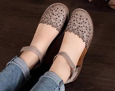 Handmade Women Leather Sandals Flat Hollow Shoes Soft Oxford Shoes for Summer by HerHis Cute Shoes, Women's Shoes, Me Too Shoes, Shoe Boots, Flat Shoes, Golf Shoes, Oxford Shoes Outfit, Casual Shoes, Pull On Work Boots