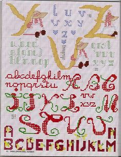 TONS of free cross-stitch alphabet charts in different sizes and styles - Sogniecoccole Schemi Gratis: Alfabeti...
