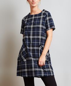 Love this Love In Navy Plaid Mini Shift Dress by Love In on #zulily! #zulilyfinds