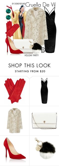 """""""Cruella DeVil"""" by leslieakay ❤ liked on Polyvore featuring Disney, Gizelle Renee, Valextra, Christian Louboutin, INC International Concepts, Kate Spade, disney, disneybound and disneycharacter"""